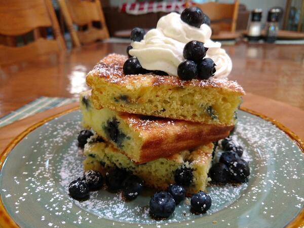 Blueberry Sheet Pan Pancakes